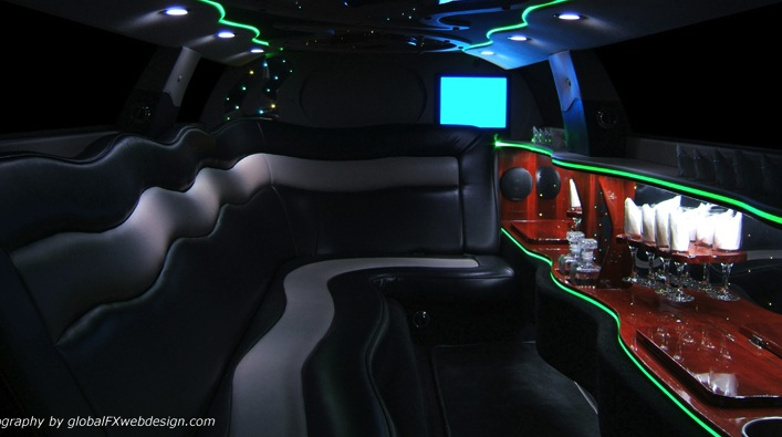 Limousine with Fancy Interior and Mood Lighting & Bar in Massachusetts.